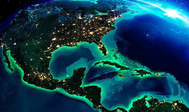 Vista satelital de Ámerica